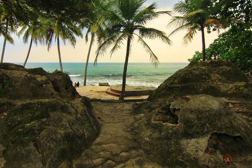 Paduan pantai dan pohon kelapa menjadi pemandangan eksotis yang tersaji di Pantai Karang Bolong