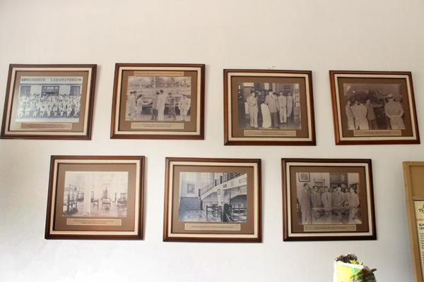 Beberapa foto yang ada di bagian lobi tentang sejarah Museum Geologi