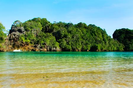 Jernihnya air dengan perpaduan warna biru dan hijau menjadi latar pantai di Pulau Sempu