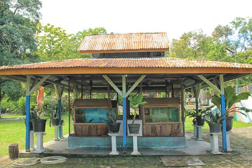Area aquarium tempat pengunjung dapat melihat aneka jenis ikan yang hidup di kawasan Pulau Belitung