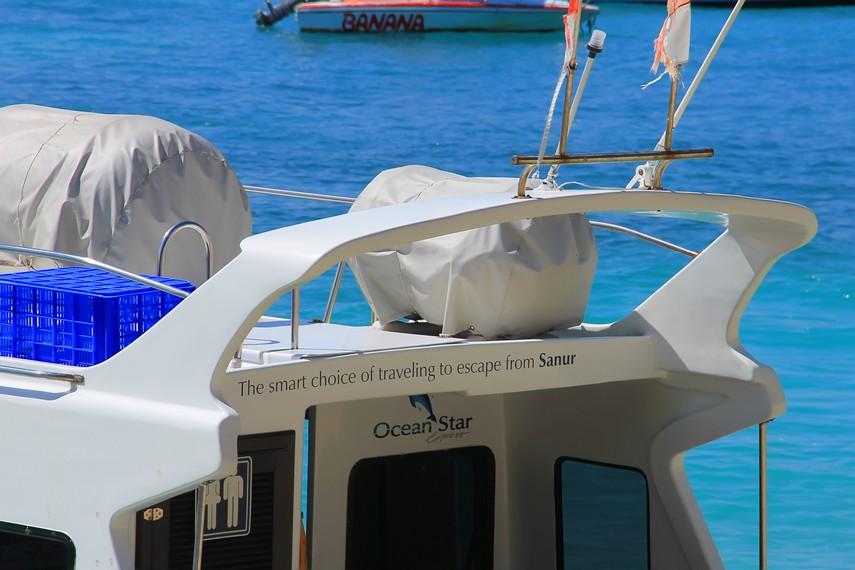 Perjalanan dengan speedboat dari Pantai Sanur memakan waktu kurang lebih 25-35 menit
