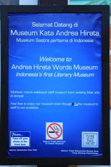 Museum Kata yang didirikan Andrea Hirata menjadi satu-satunya museum sastra yang ada di Indonesia