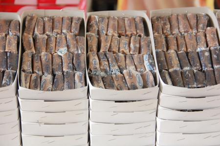 Dodol terbuat dari bahan dasar gula merah dan tepung ketan