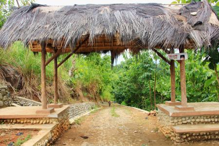 Gerbang menuju Kampung Adat Dukuh Dalam di Kecamatan Cikelet, Kabupaten Garut