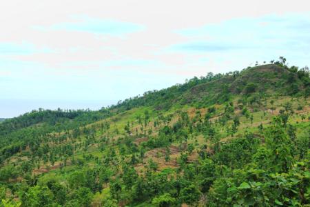 Pemandangan perbukitan akan menjadi teman saat menuju Kampung Dukuh Dalam