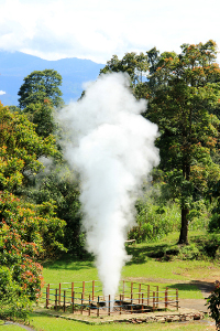 Uap panas yang dikeluarkan digunakan sebagai pembangkit listrik tenaga panas