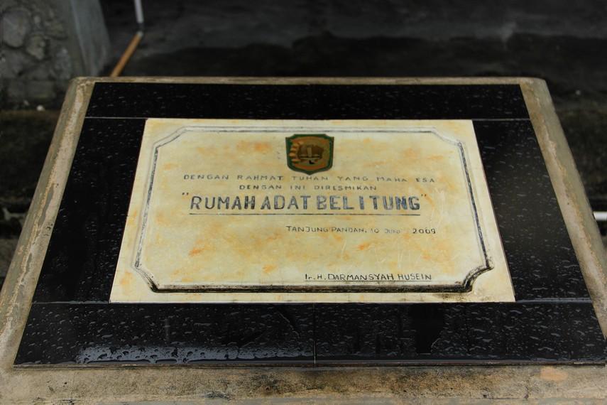 Rumah adat Belitung yang diresmikan oleh Bupati Belitung pada Juni 2013