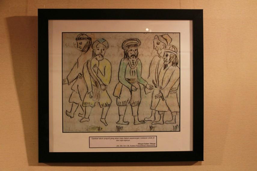 Salah satu ilustrasi dalam Hikayat Sultan Taburat yang menggambarkan kesediaan berperang terhadap jin dan rajanya