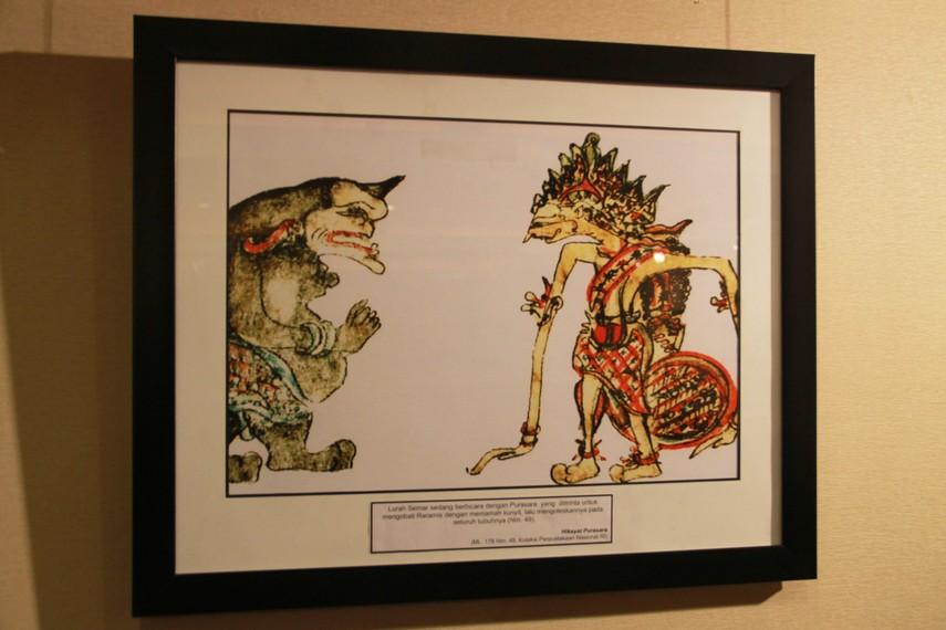 Ilustrasi yang menggambarkan Semar sedang berbicara dengan Punasara dalam Hikayat Punasara