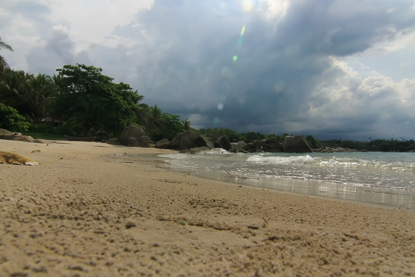 Pantai ini berjarak 35 km dari pusat kota Pangkal Pinang atau menempuh perjalanan sekitar 45 menit