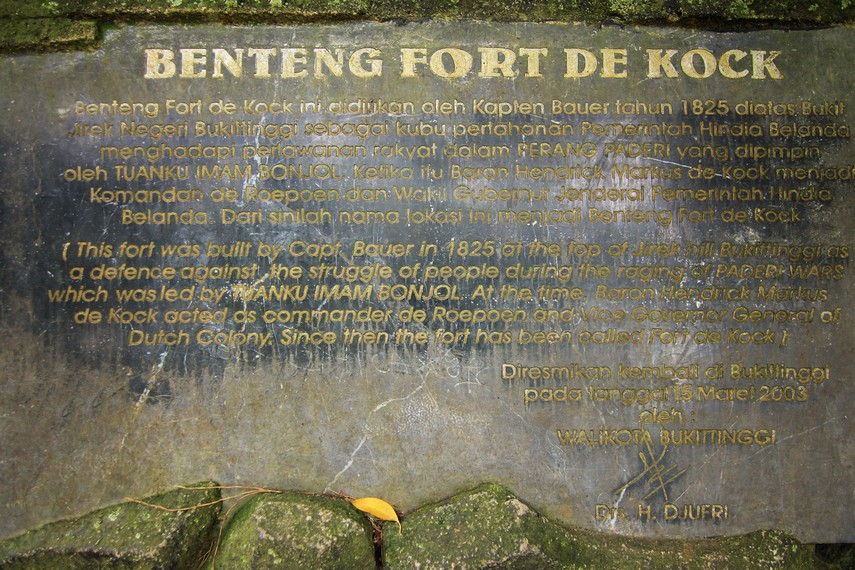 Nama Fort de Kock didedikasikan kepada Hendrik Merkus Baron de Kock, pejabat Komandan Militer Hindia Belanda saat itu