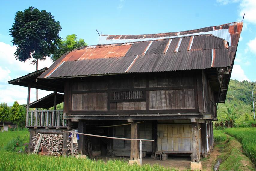 Rumah ini berada di Desa Tegurwangi, di Kaki Gunung Dempo, Pagaralam, Sumatera Selatan, tepatnya di tengah sawah yang sedang menguning
