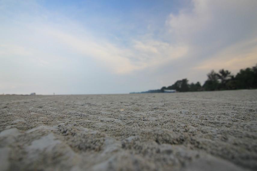 Hamparan pasir putih yang luas dapat dilihat di sepanjang Pantai Pasir Padi
