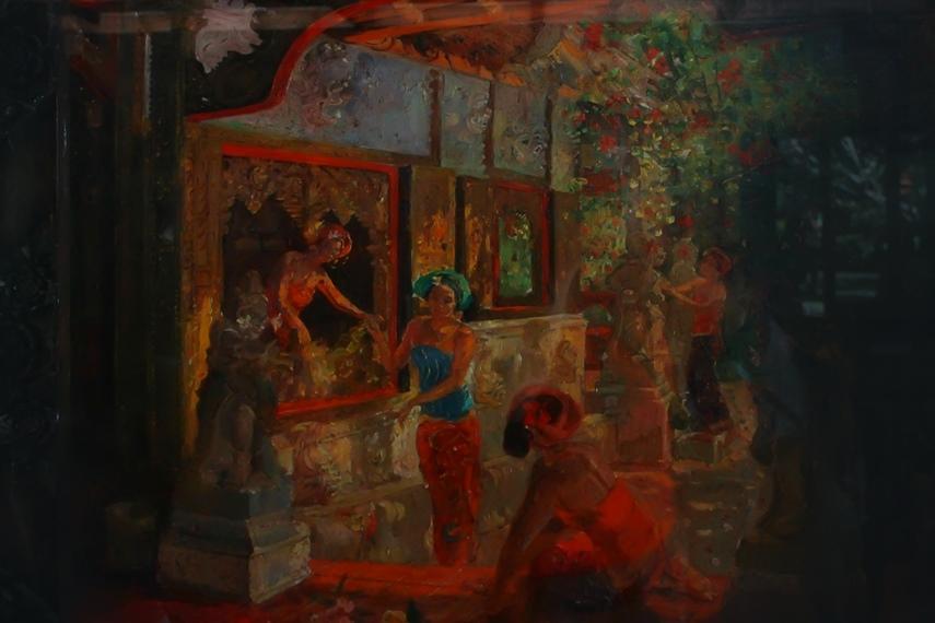 Salah satu karya lukis Le Mayeur yang mengangkat aktivitas para gadis Bali