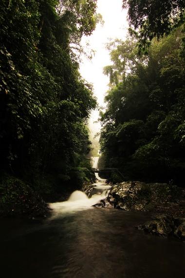 Jalan setapak menyusuri ketiga air terjun dikelilingi hutan yang rimbun dan perkebunan milik masyarakat