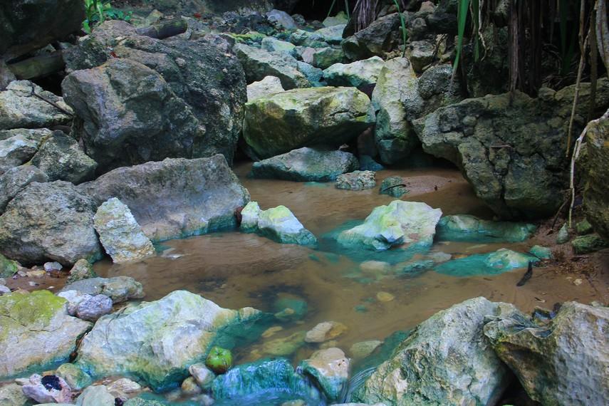 Untuk menikmati Pantai Gua Sarah, pengunjung harus melalui jalan sulit nan terjal