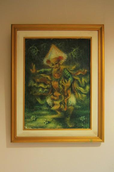 Lukisan pertama yang dibuat Ngurah Gede Pemecutan menggunakan tehnik sidik jari bertemakan tari baris