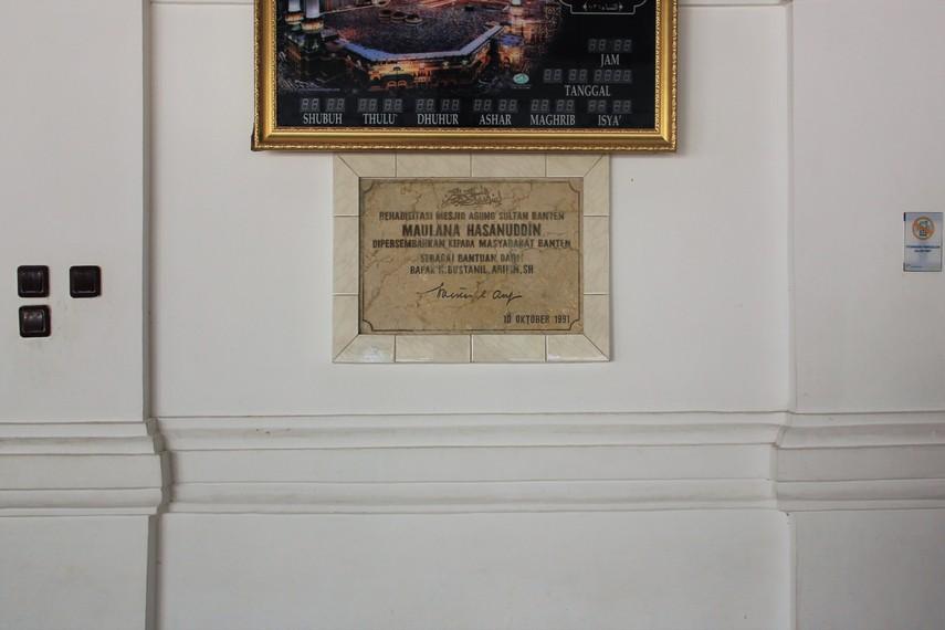 Masjid Agung Banten dibangun antara tahun 1552-1570 saat Sultan Maulana Hasanuddin memerintah