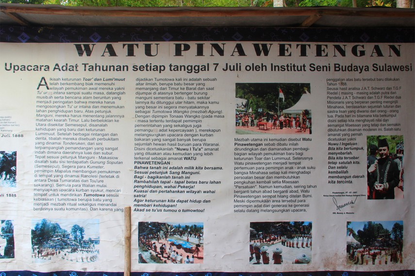 Mading yang menjelaskan sekelumit sejarah Watu Pinawetengan