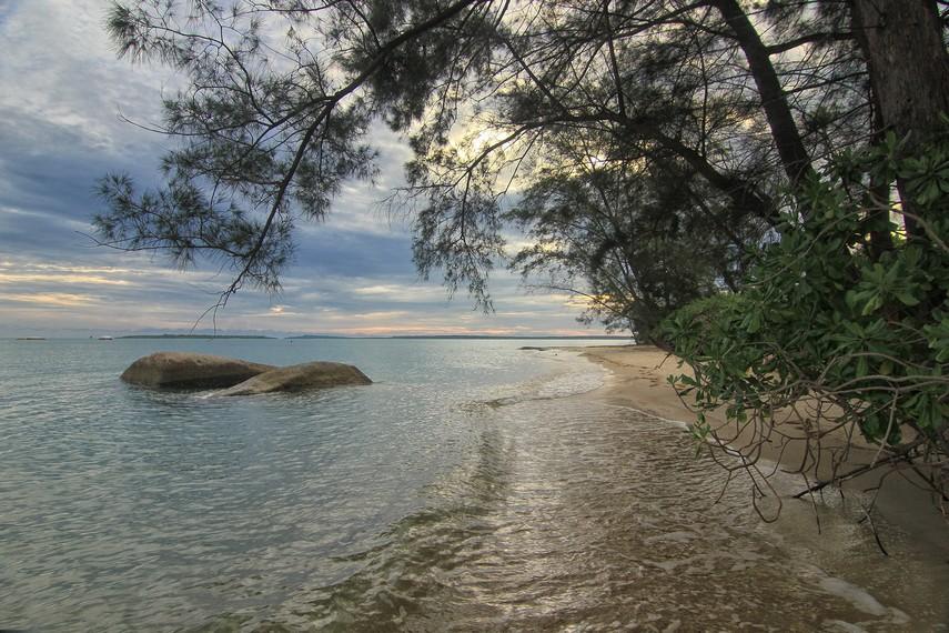 Pantai Tanjung Kiras juga memberikan suasana kesejukan dengan banyaknya pohon yang tumbuh di sekeliling pantai