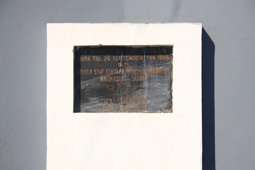 Monumen ini diresmikan pada 26 September 1986 oleh Kepala Staf TNI AD saat itu Try Sutrisno
