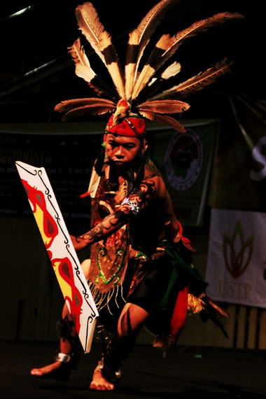 Secara umum penari mandau mengenakan baju berbentuk rompi yang terbuat dari kulit, bagian bawahnya mengenakan cawat