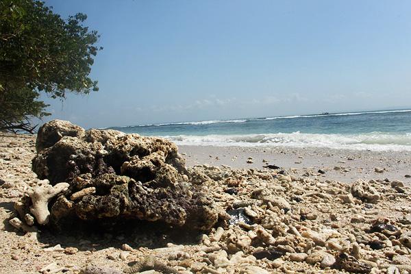 Batu karang yang berserakan di sekitar Pantai Pasir Putih menjadi pemandangan menarik