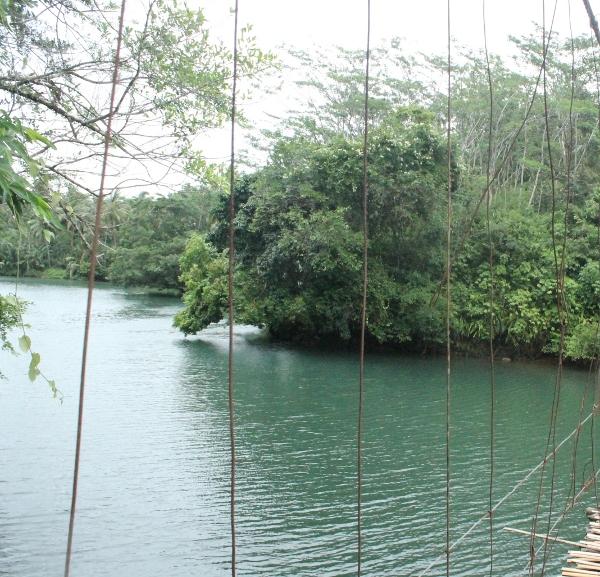 Air sungai Cijulang yang tenang menjadi pemandangan tersendiri ketika melewati jembatan ini