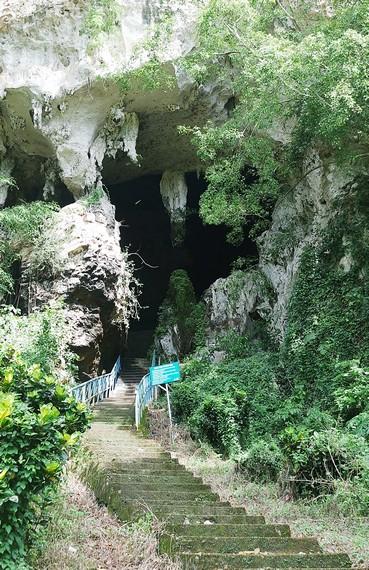 Anak tangga menuju pintu masuk ke mulut gua