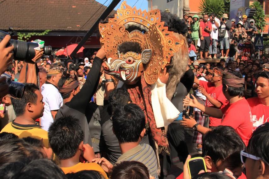 Sebelum omed-omedan dimulai, barong bangkung diarak untuk memperingati peristiwa beradunya babi hutan di masa lalu