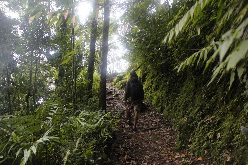 Jalan menuju Goa Jepang tidak terjal, tetapi berliku
