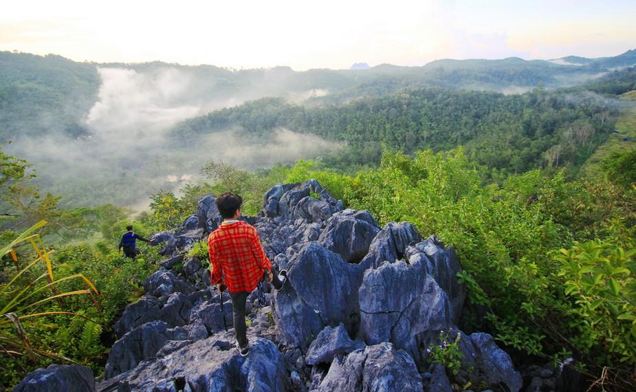 Jalur pendakian menuju puncak bukit cukup bervariatif