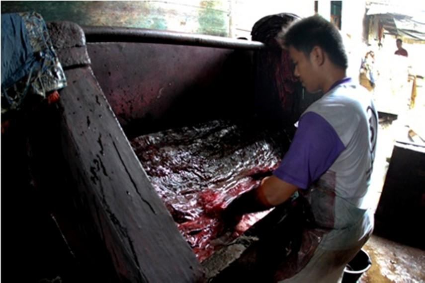 Proses pewarnaan Batik Jambi