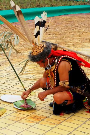 Ketua adat Dayak Bahau sedang memeriksa hati binatang yang dikorbankan