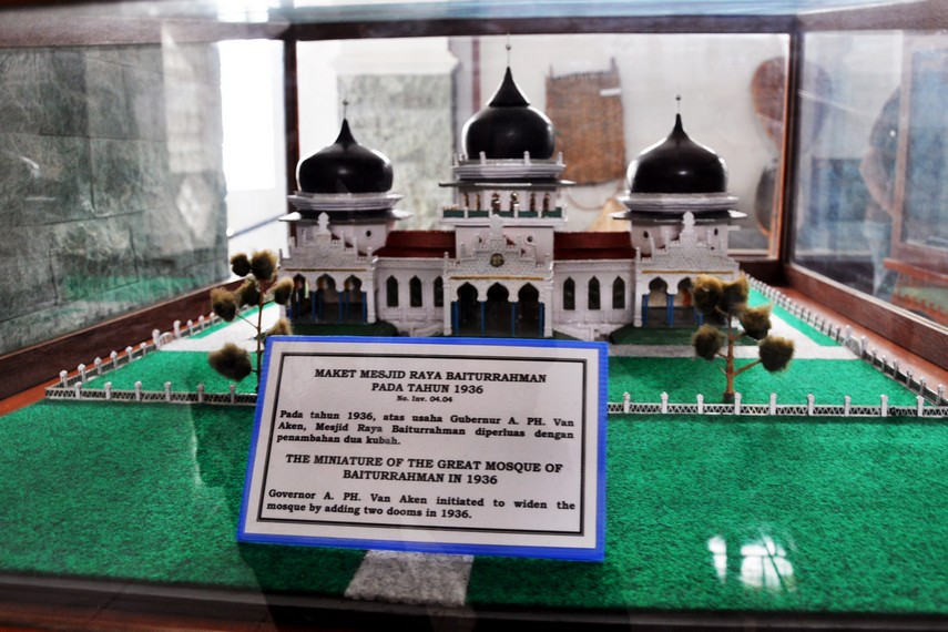 Maket arsitektur Masjid Raya Baiturrahman hasil perluasan tahun 1936