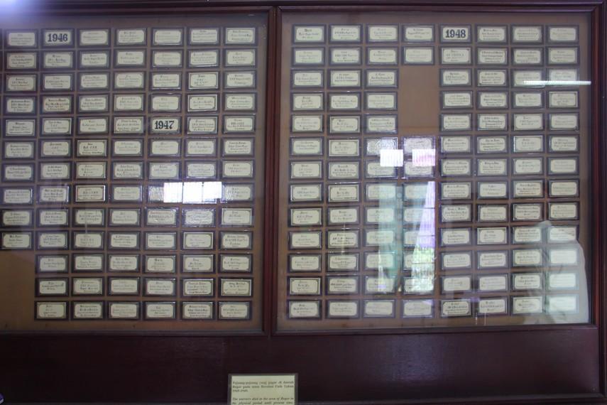 Papan nama yang mencantumkan daftar para pejuang kemerdekaan dari Bogor mulai tahun 1948 hingga 1950