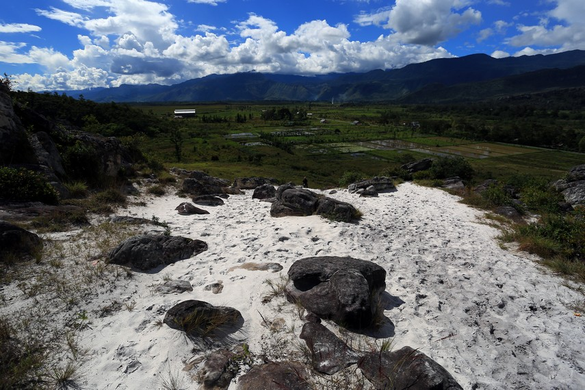 Pasir ini halus layaknya pasir pantai namun di tempat ini sama sekali tidak ada pantai