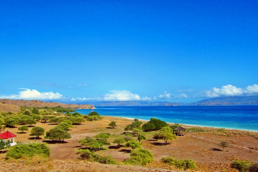 Pemandangan Pulau Padar dari atas bukit