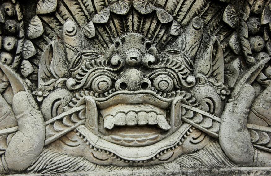 Relief berbentuk barong dipercaya sebagai pengusir roh jahat
