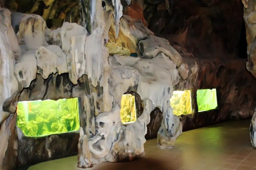 Suasana di dalam wahana Kura-Kura Ocean Park yang sekilas seperti memasuki sebuah gua
