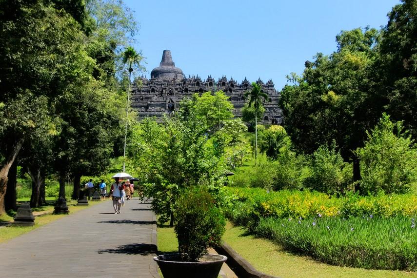 Taman bunga yang berada di sekitar halaman Candi Borobudur