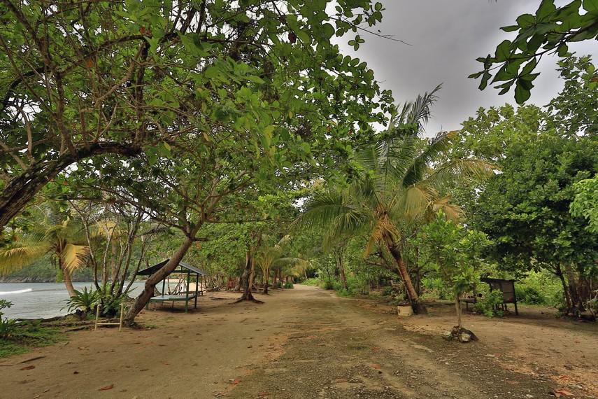 Wilayah pinggir pantai yang begitu tenang dengan beberapa gazebo yang disewakan bagi pengunjung