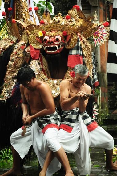 Pertunjukan tari barong keris ditutup dengan atraksi para penari yang menunjukkan kekebalan tubuhnya terhadap tusukan keris
